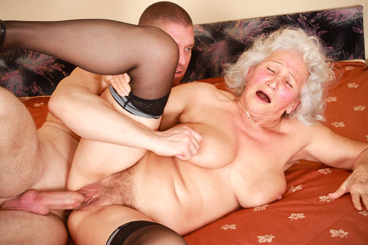 Old gray haired granny Marinoka fucks with young man