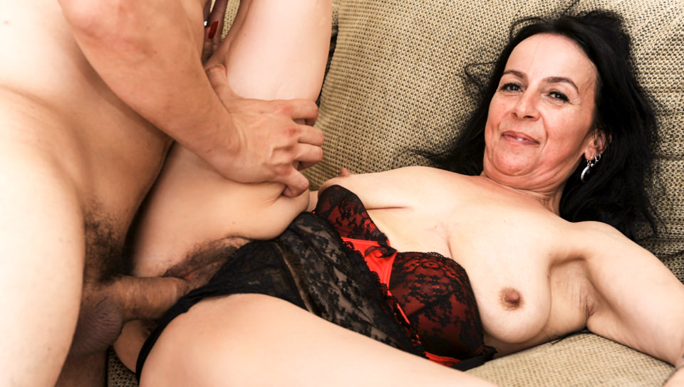 Hairy brunette granny Miss Nina Swiss gets fucked