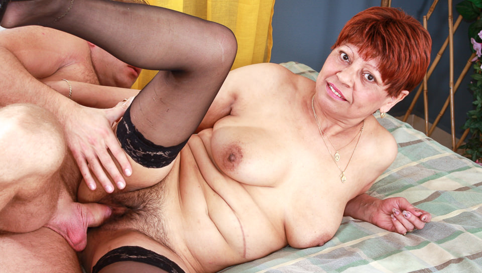 Redhead granny loves younger boys