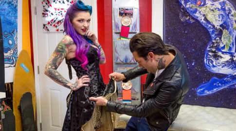 Bullseye sweethearts small hands kandy kummings. Small Hands was drafting up another Burning Angel masterpiece when rockabilly newbie Kandy Kummings approached him in his tattoo shop, her mermaid hair pinned in victory rolles, flirtatiously eye-fucking him, flashing her panties, and luring him away from his work for a break to play a game of darts. She got his engines revved and he hit the bullseye! His prize was Kandy's lovely little mouth and punk pin up pussy. She sucked and fucked him like a pleasant little doll, submitting and enjoying a little rough play with her hunky man meat.