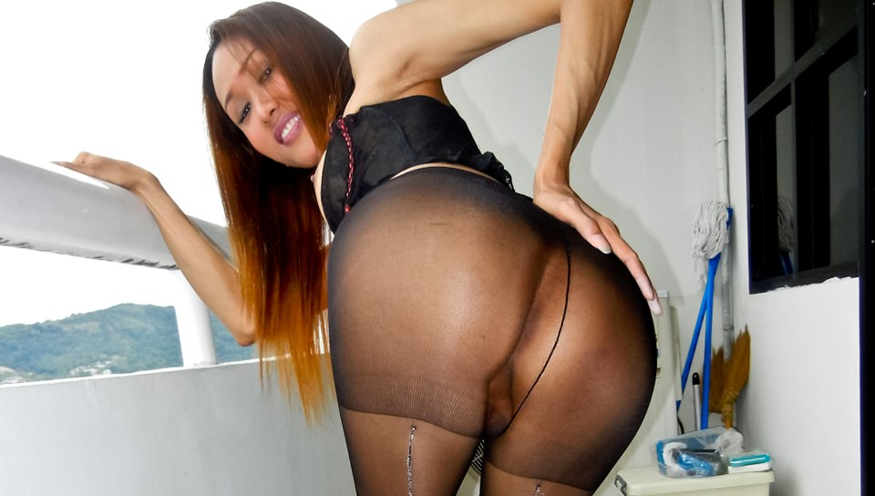 Ladyboy Apple Pantyhose Play