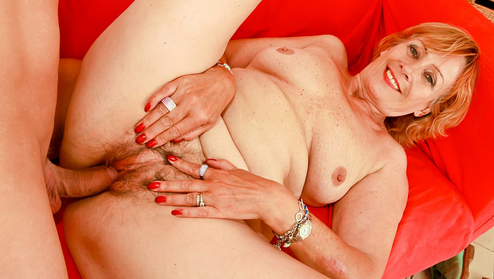 Horny granny Lady sucks and fucks with younger man