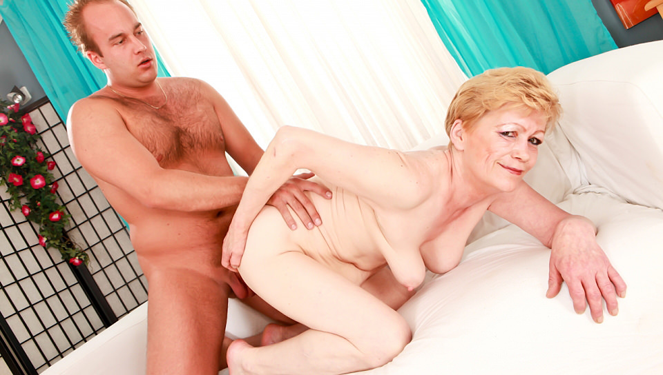 Horny granny Maria loves sex in doggy style