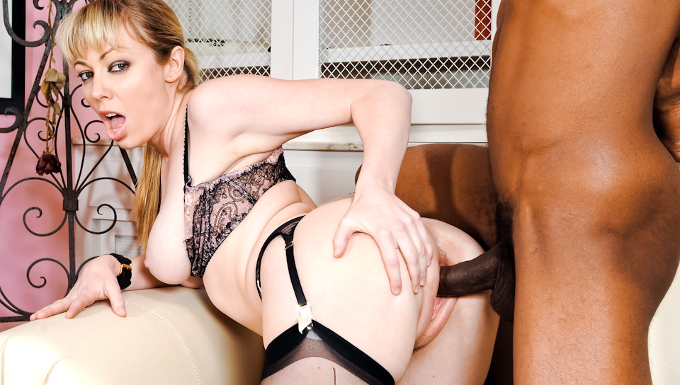 Blonde MILF in stockings receives black dick